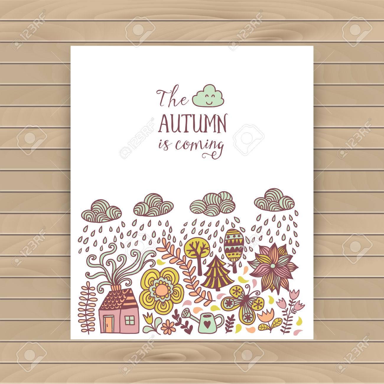 Vector Herbst Kritzeleien Karte Hand Zeichnen Baume Und Blatter Auf