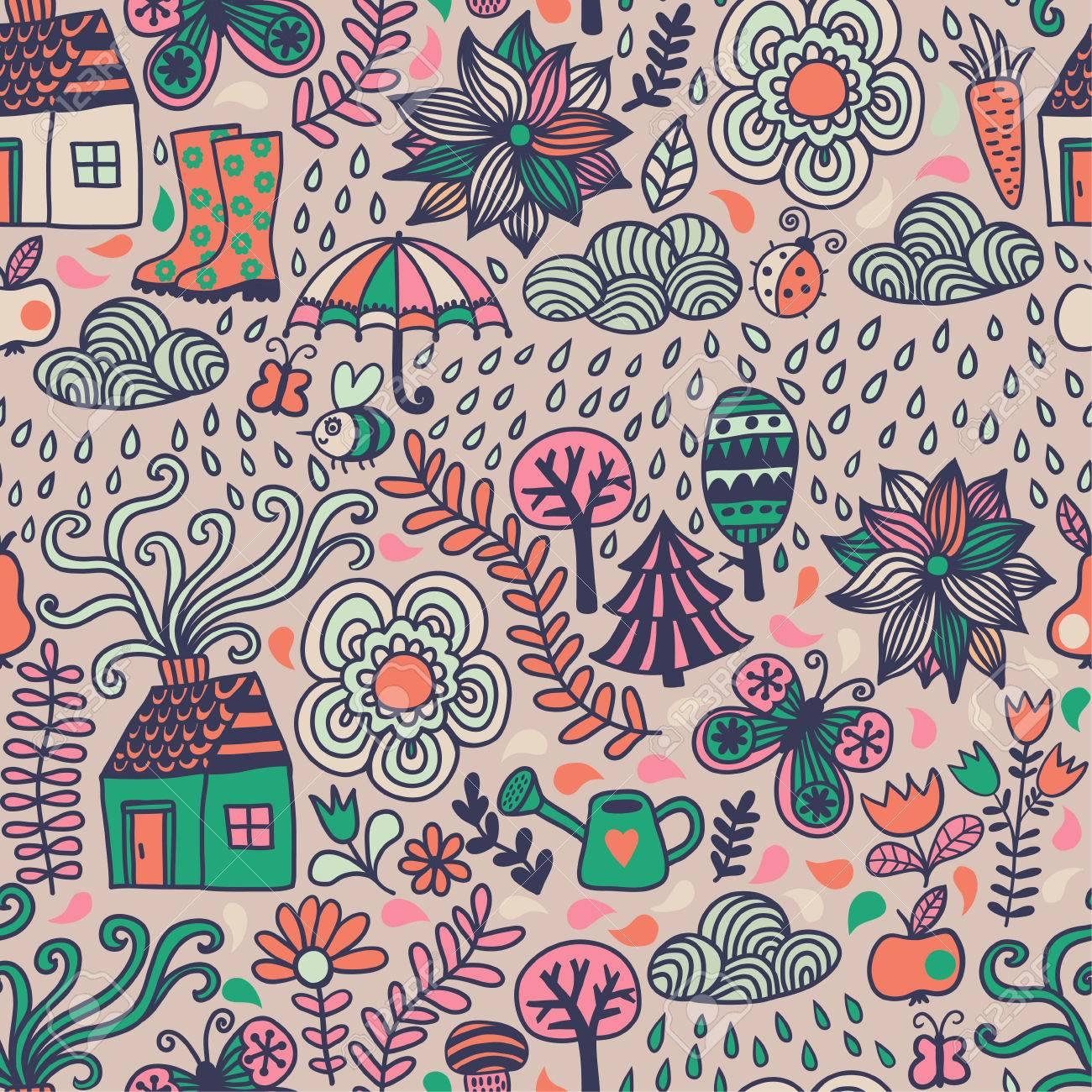 Vektor Nahtlose Muster Herbst Doodles Karte Hand Zeichnen Baume