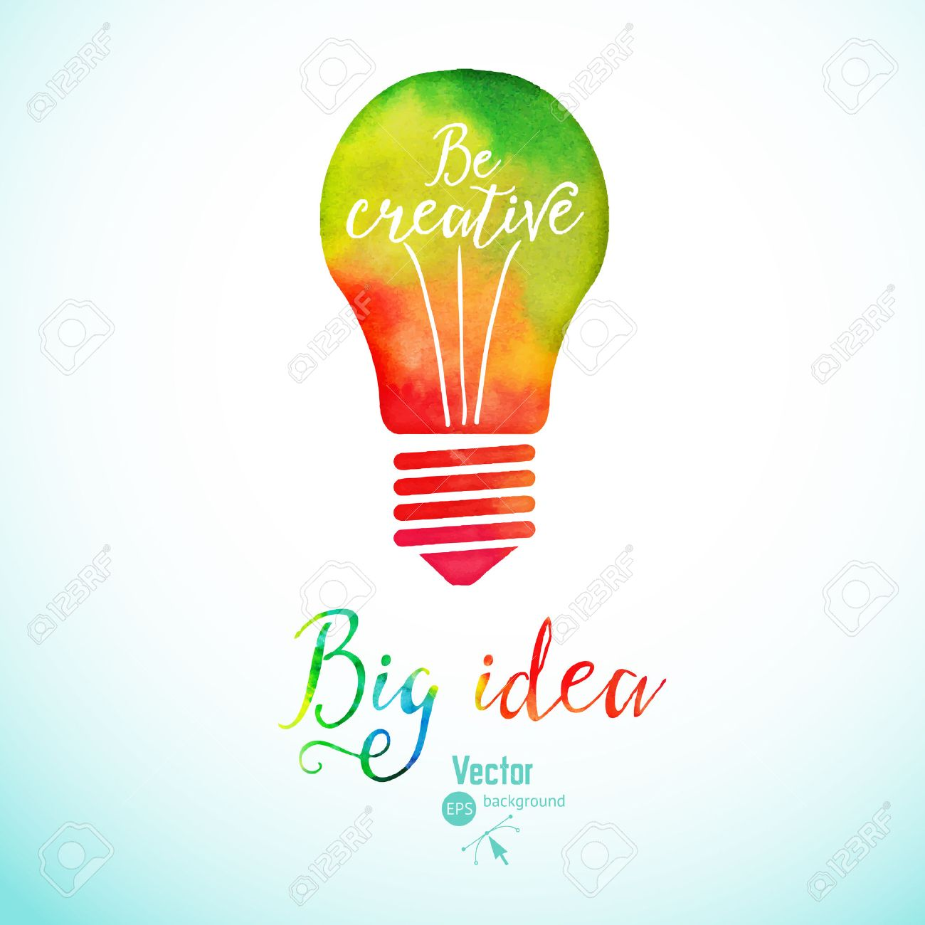 Light bulb made of watercolor, lightbulb and creative icons, watercolor creative concept. Vector concept - creativity and idea. Lettering. quote. Creative light bulb, Big idea, Creative Research - 49062172