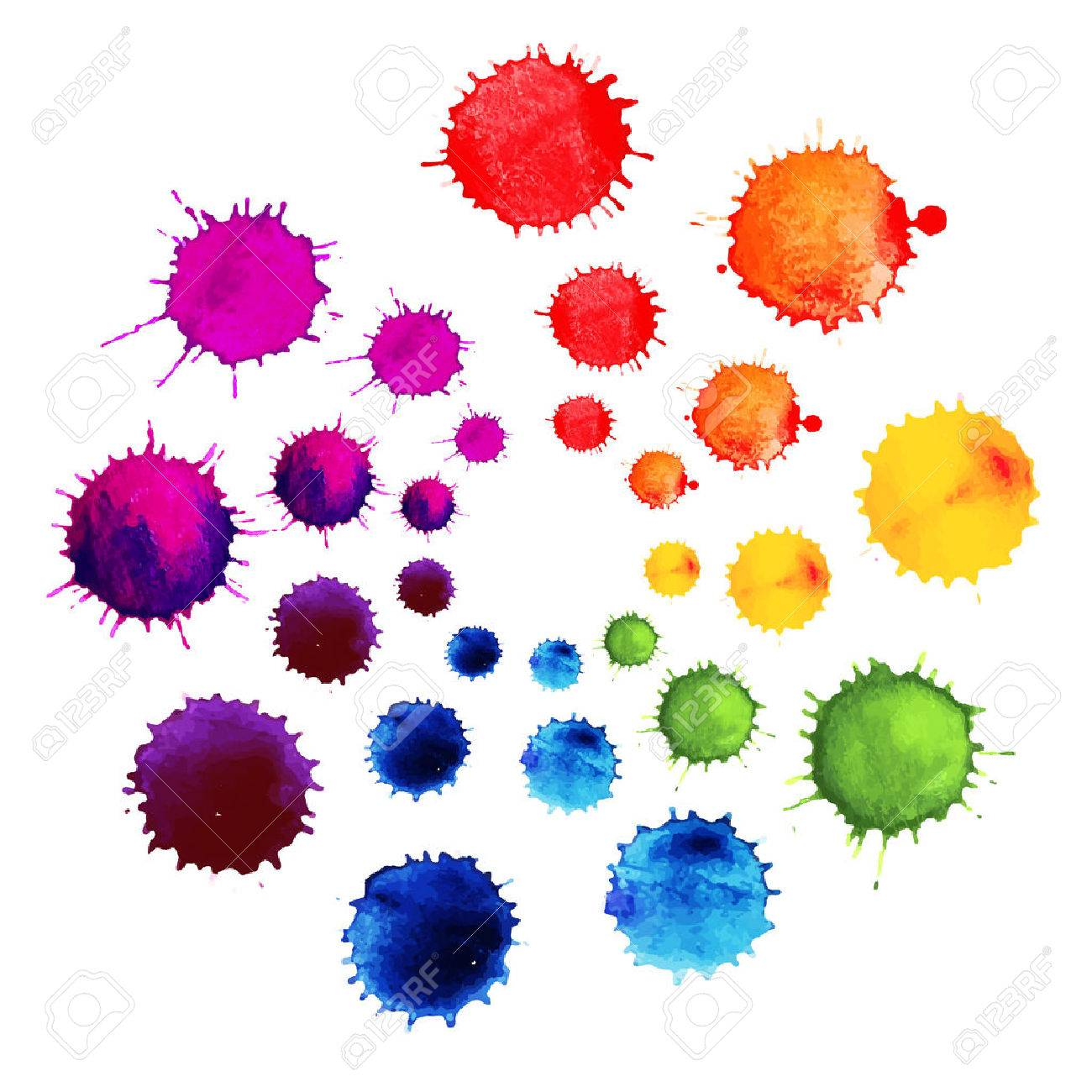 Abstract Flower Made Of Watercolor Blobs Colorful Vector Ink Paint Splats Color Wheel