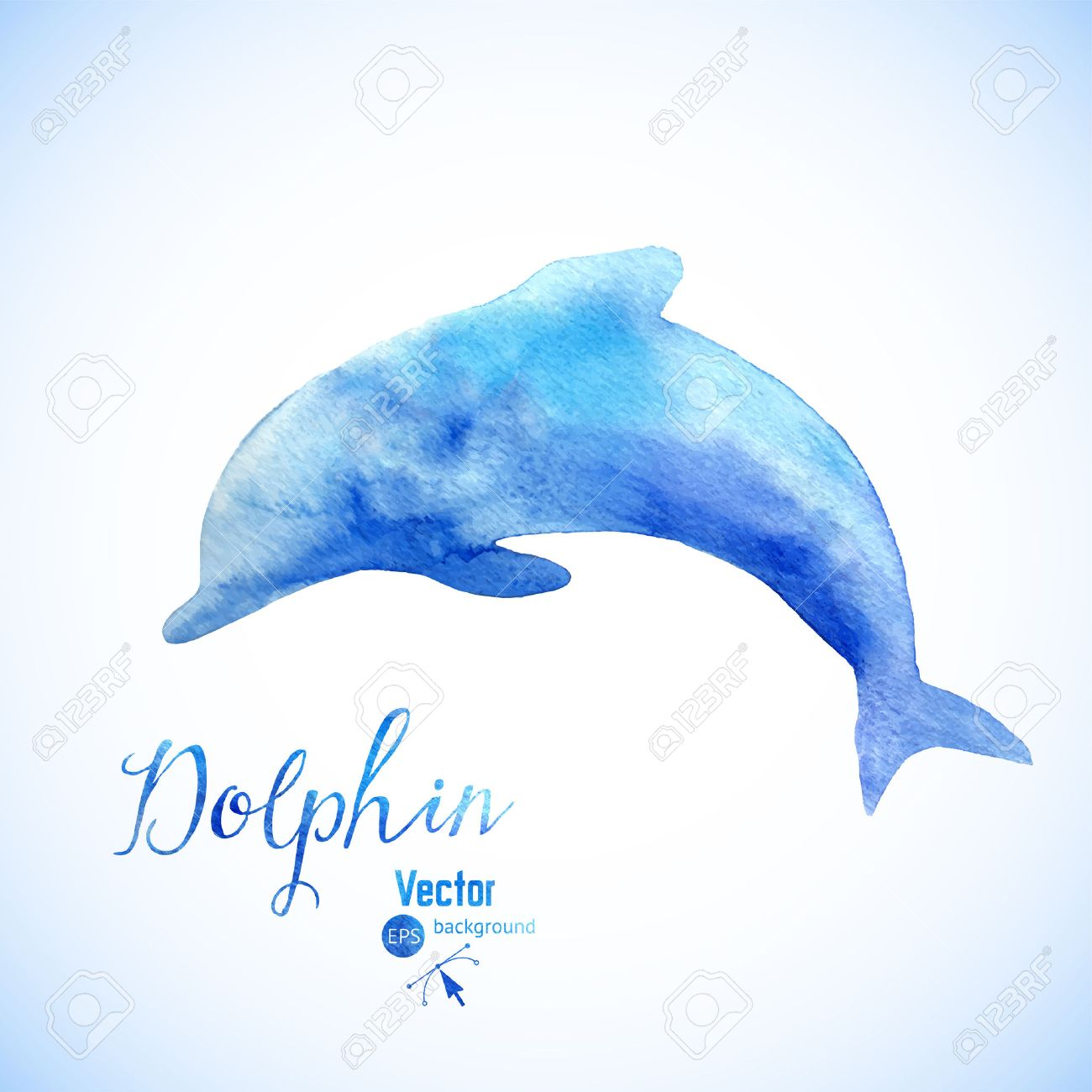 a3326f07145 Vector - Watercolor dolphin background symbel. Jumping blue dolphin  watercolor painted.