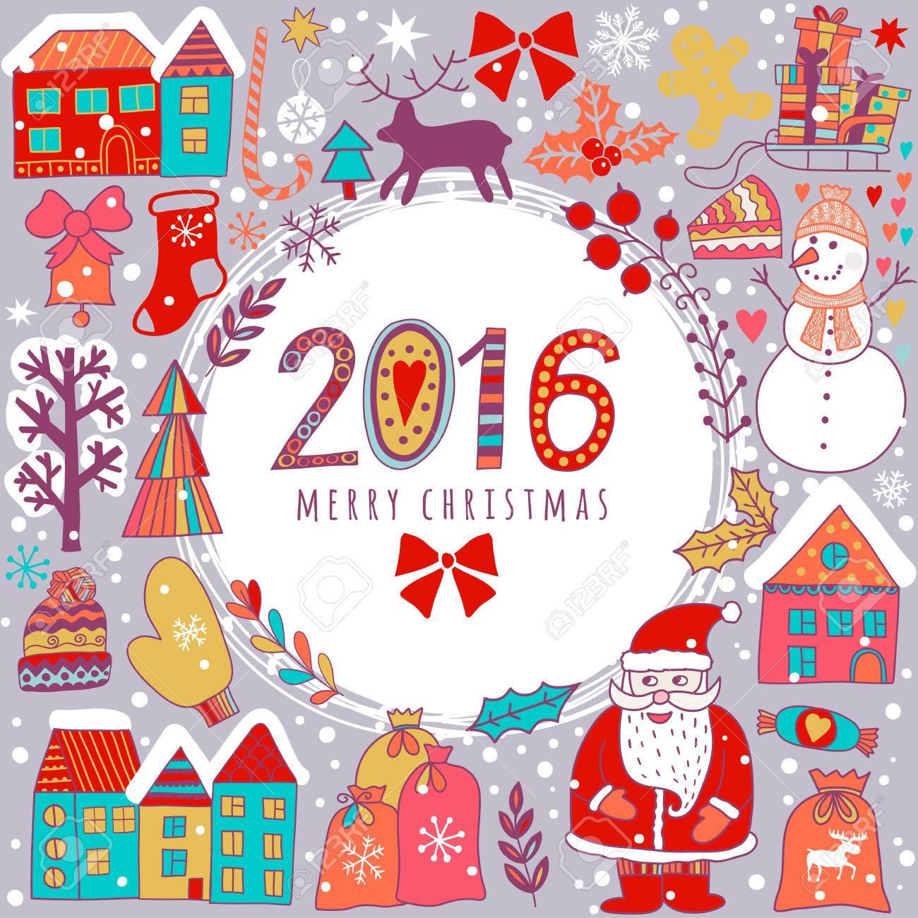 Weihnachts-Grußkarte Vorlage, Vektor Frohe Weihnachten. Winterurlaub ...
