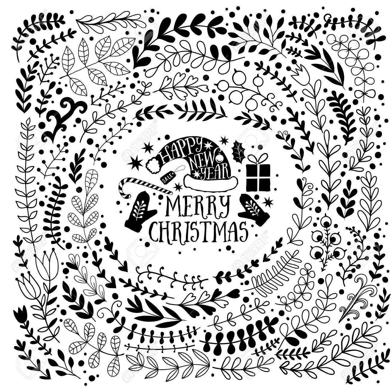 Merry Christmas Vector Greetings Illustration Colorful Leaf Design Happy New Year Card Frame