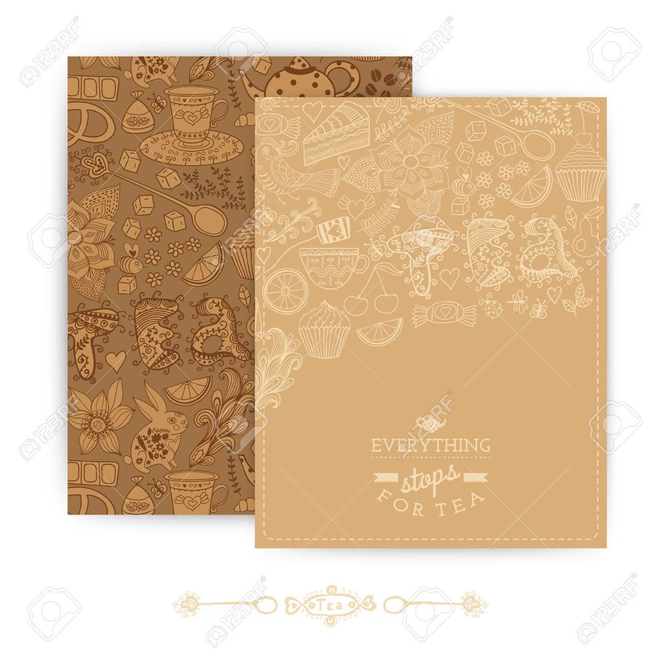 Tee-Markendesign. Kaffee Und Tee Design-Set-Karten. Süßes Muster ...