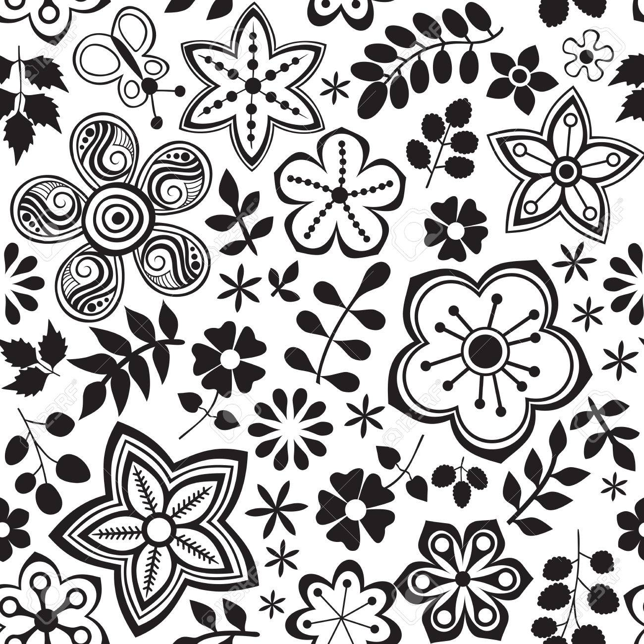 Vector Flower Pattern Black And White Seamless Botanic Texture