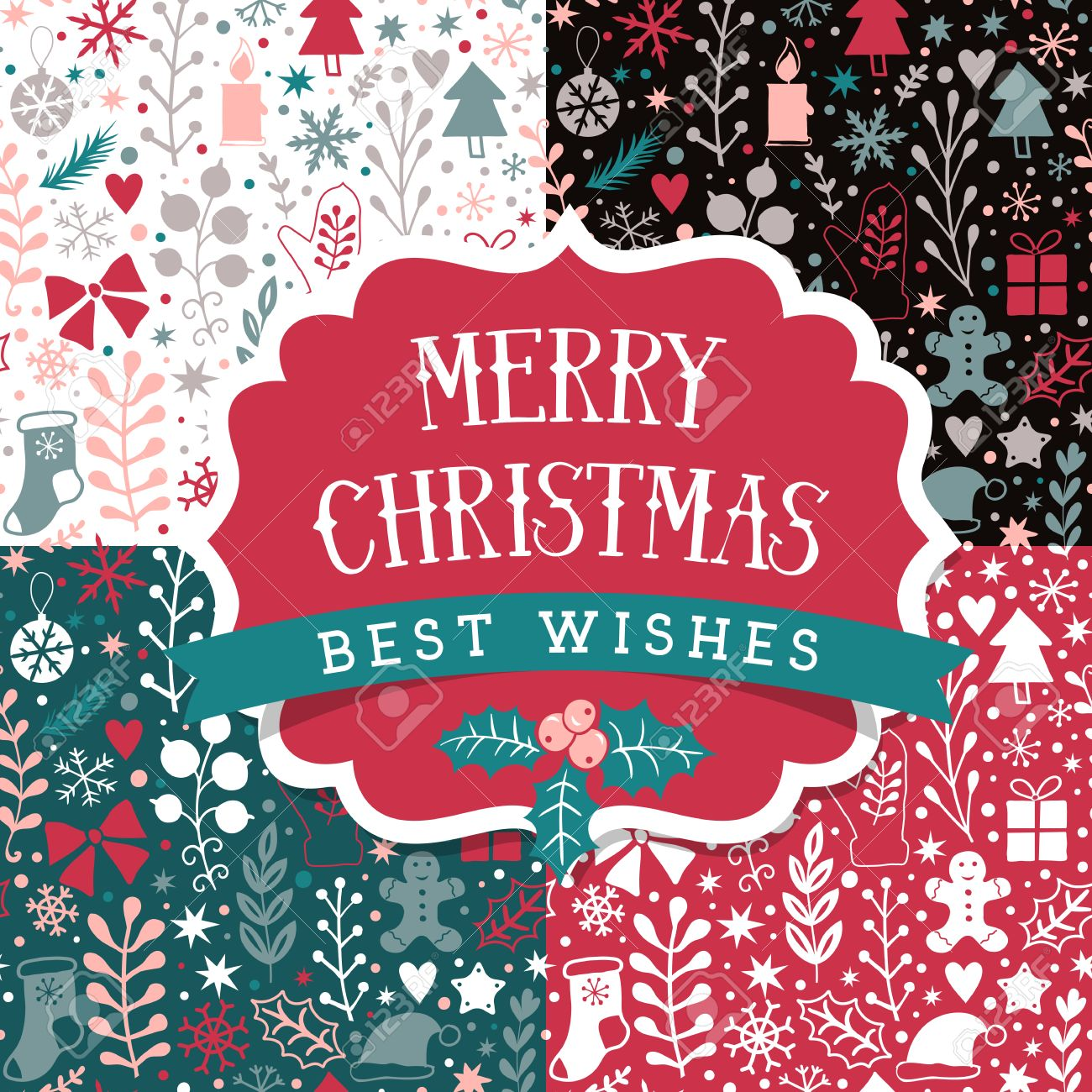 merry christmas seamless patterns set holidays layout retro label design happy new year