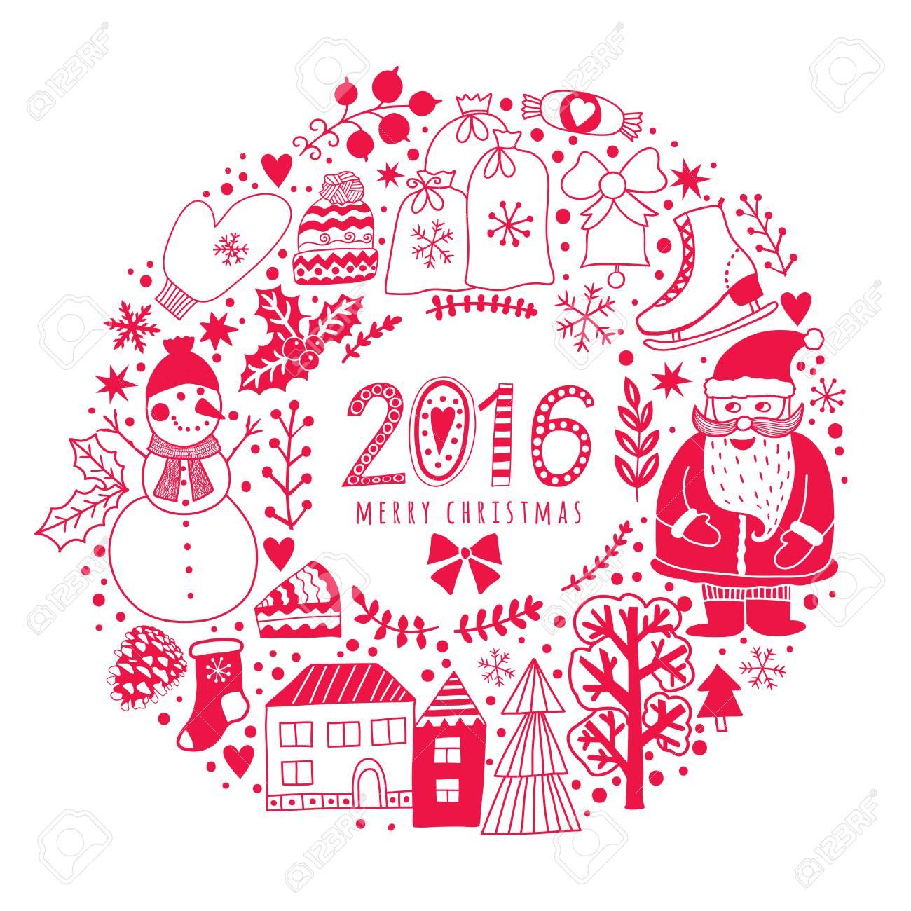 Vector Kreis Kranz, Weihnachten Grußkarte Vorlage, Frohe Weihnachten ...