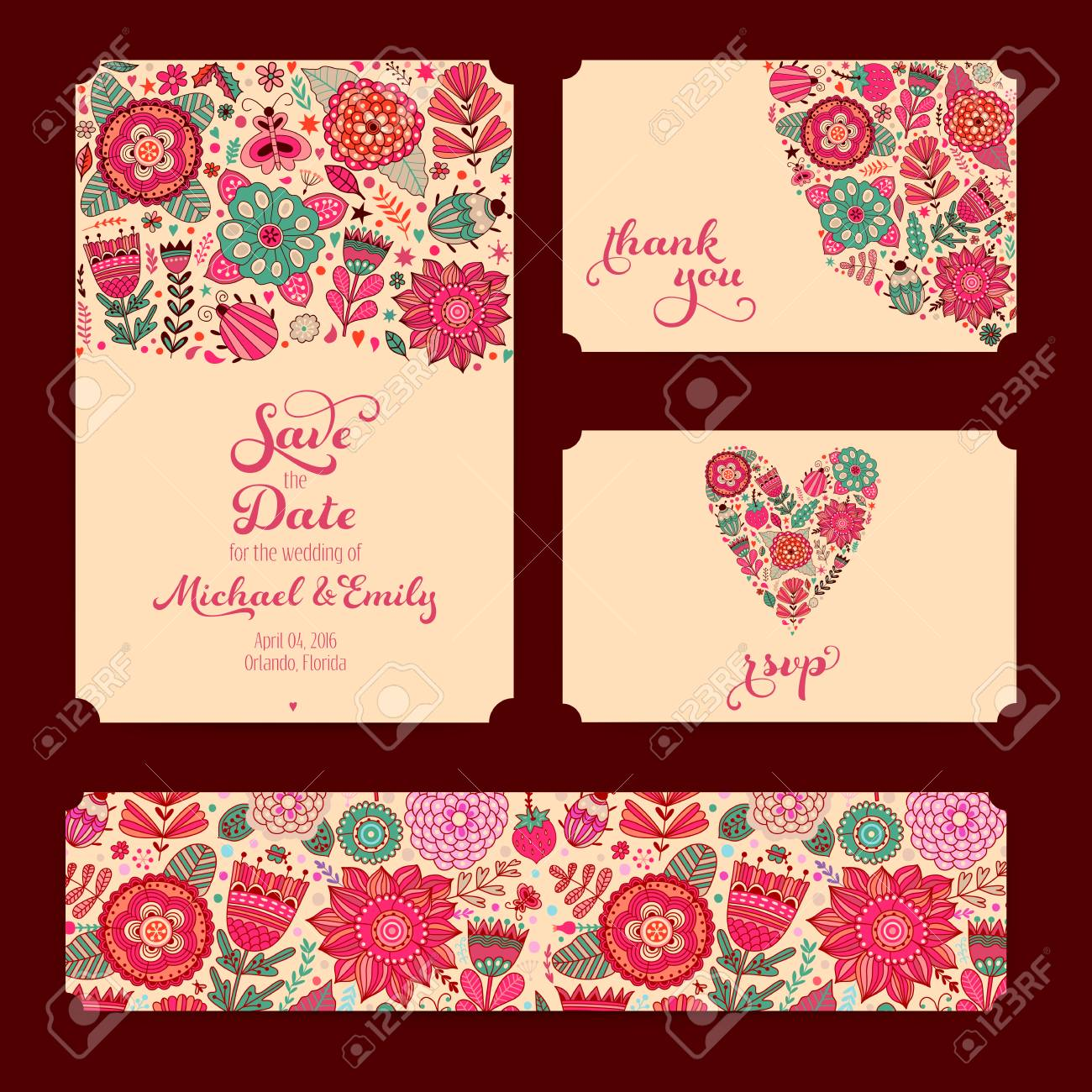 Wedding Invitation Template: Invitation, Envelope, Thank You.. Stock ...