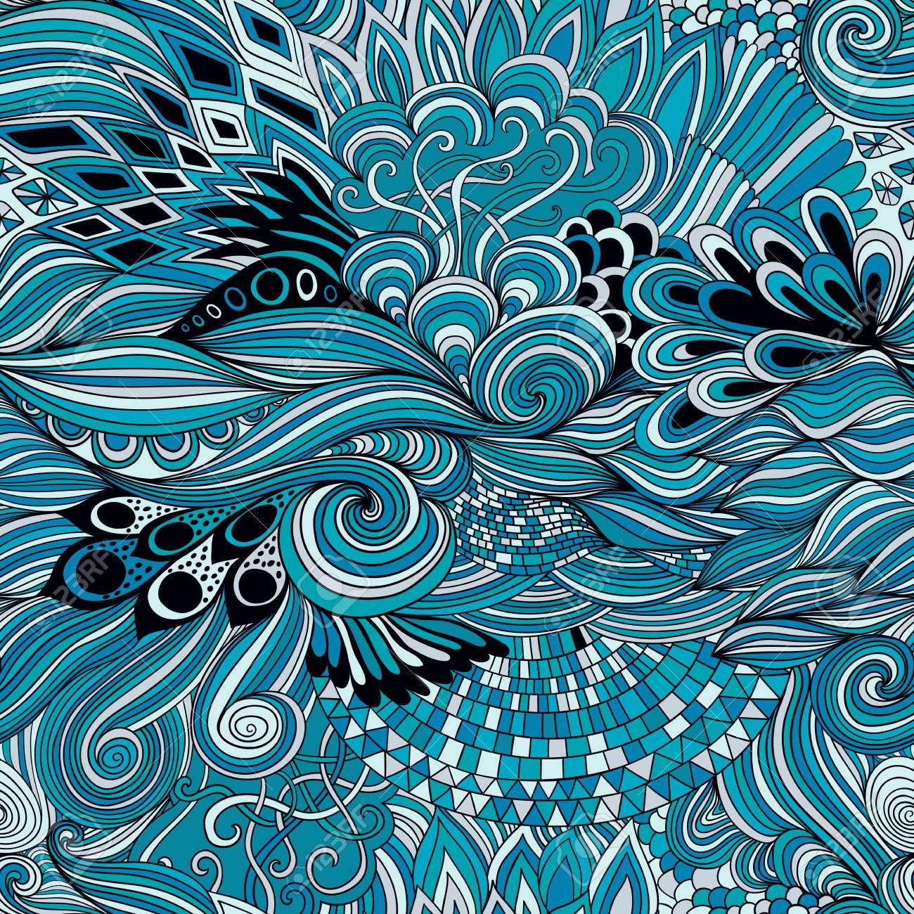 カラフルな飾りと抽象的な背景をシームレスなパターン手は塗り絵の図