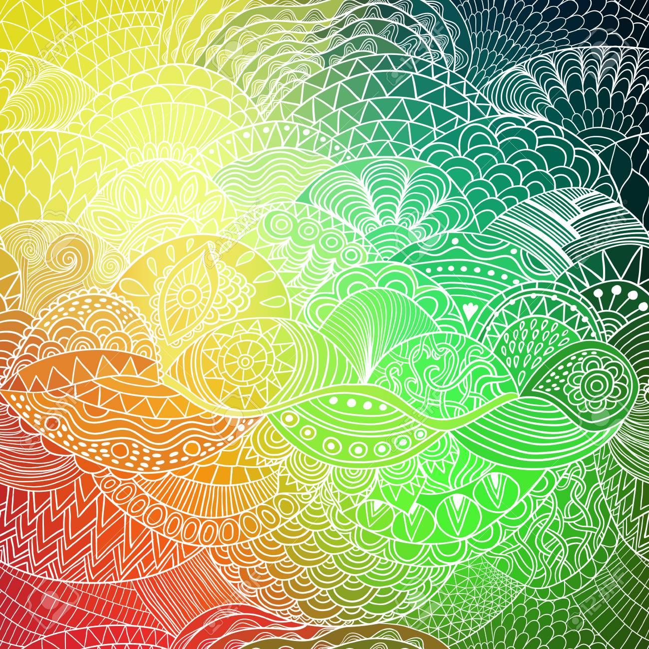 カラフルな飾りでベクトル パターン抽象的な背景手は着色本 Zentangle