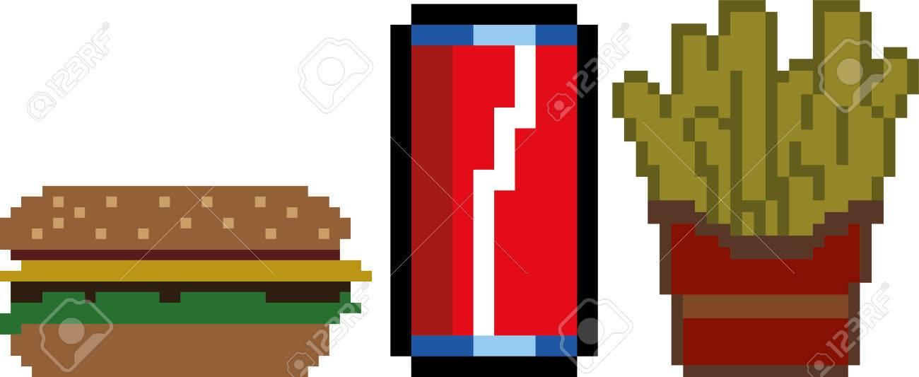 Art Rapide De Style Alimentaire De Pixel Et 8 Bit Hamburger Boisson Frites Crème Glacée Et De Gâteau Vector Illustration