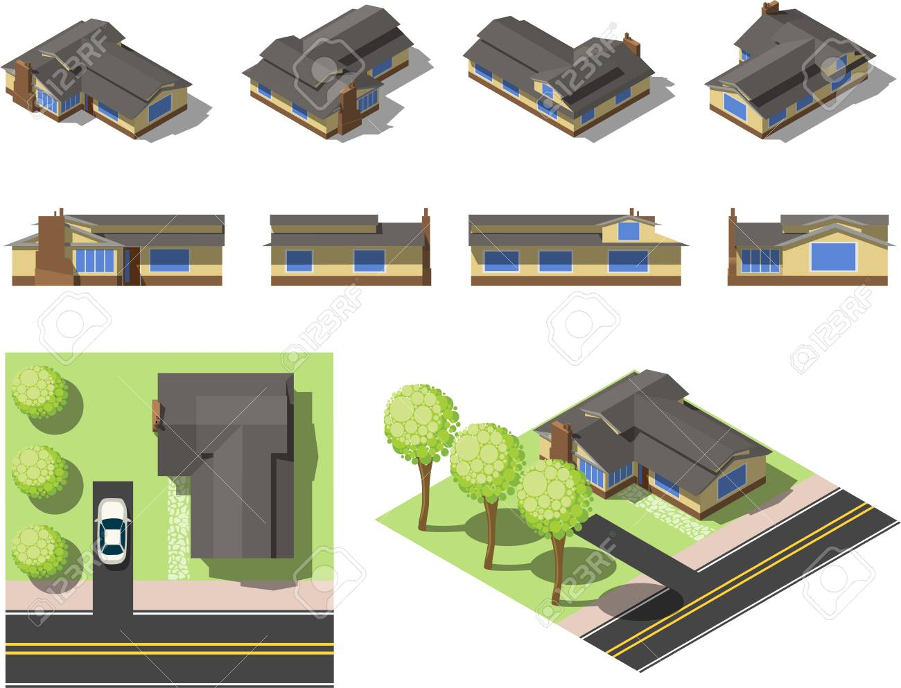 Set Einfache Isometrische Häuser Standard Bild   87755528