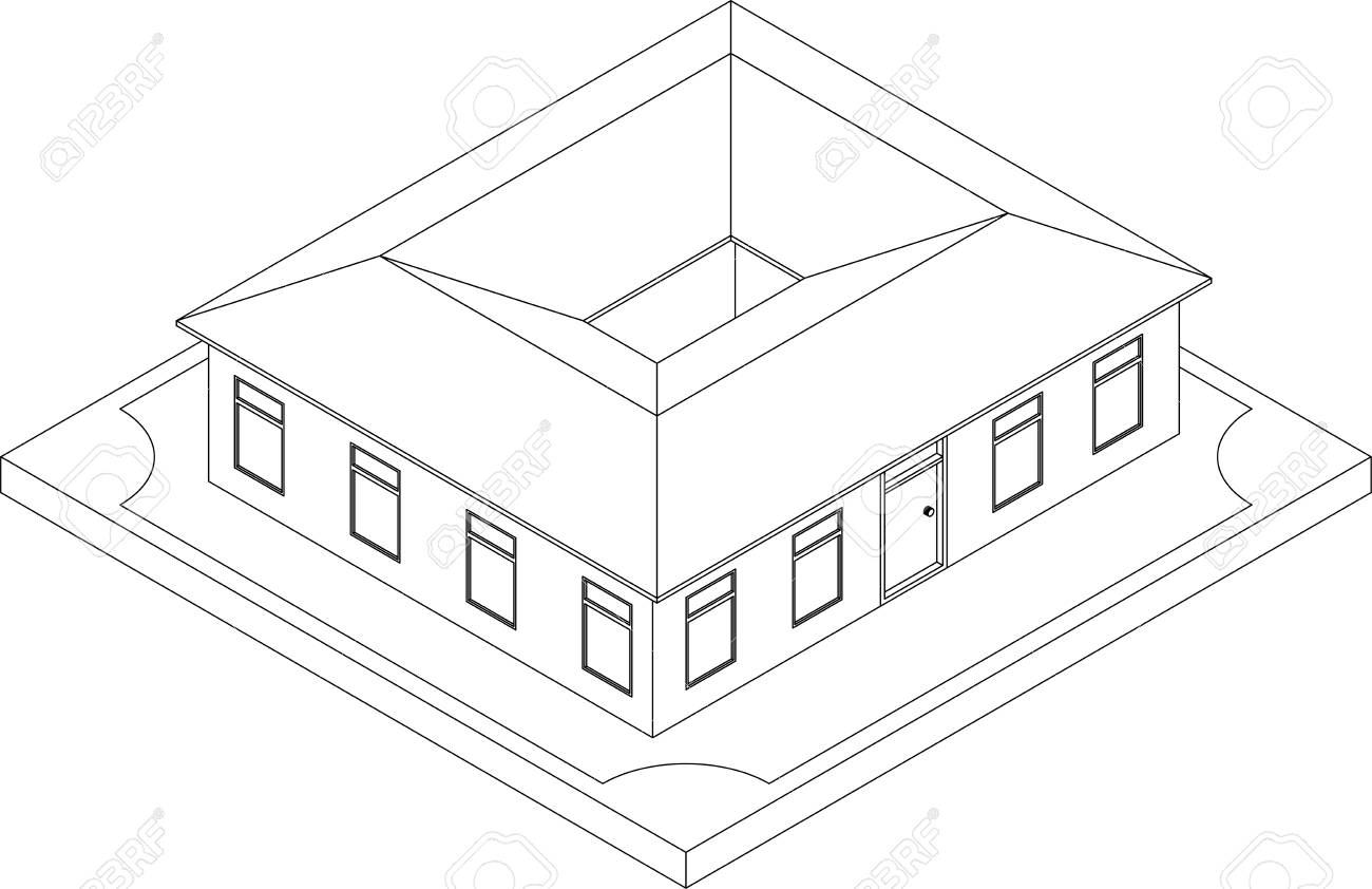 Contour Of Isometric Residential Building. Illustration Of Urban ...