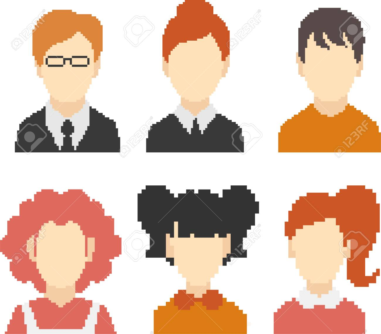 Set of faces in pixel-art style  Retro 8-bit or 16-bit  For your