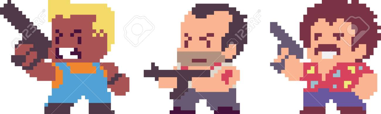 Set Of Game Characters In Pixel-art Style. Retro 8-bit Or 16-bit ...