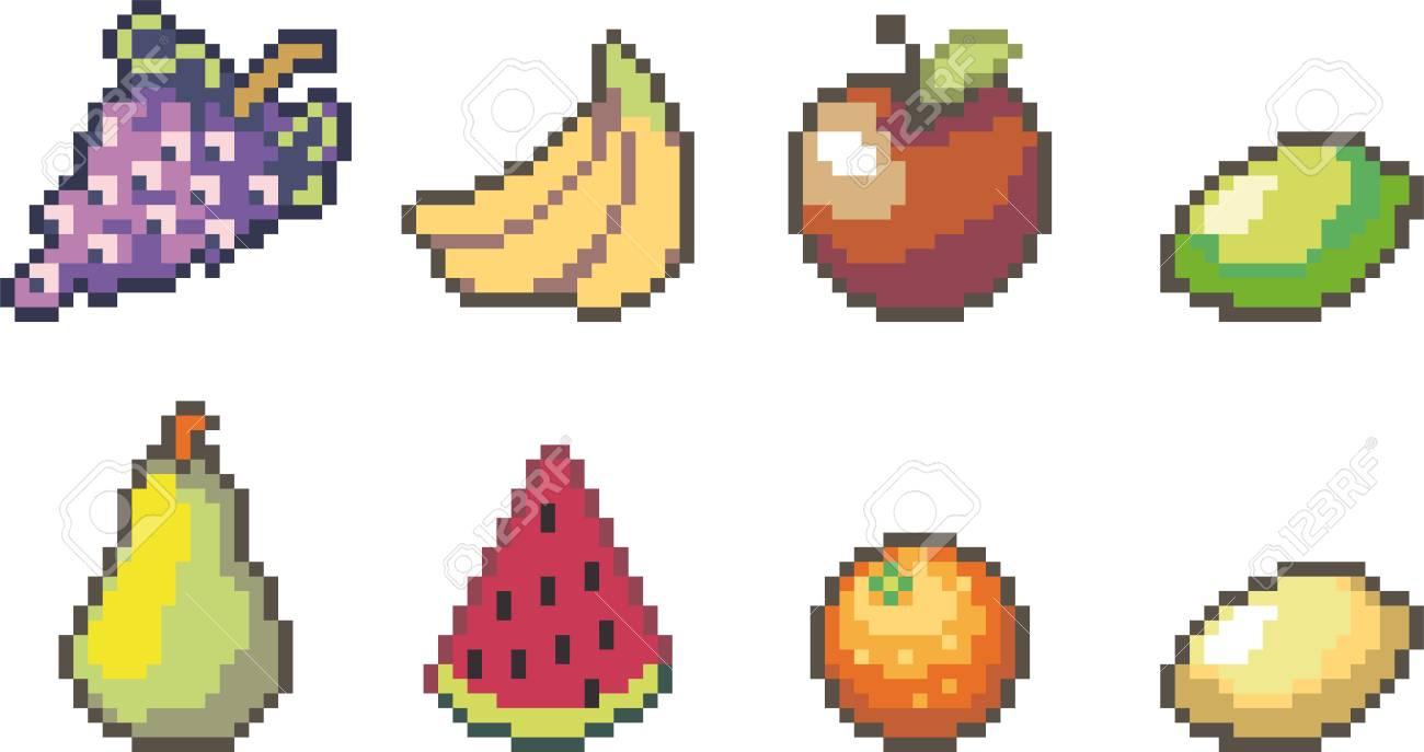 Ensemble D Icones De Nourriture Dans Le Style De Pixel Clip Art Libres De Droits Vecteurs Et Illustration Image 89625805