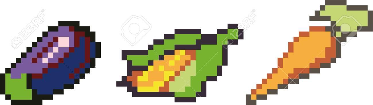 Ensemble Dicônes De Nourriture Dans Le Style De Pixel