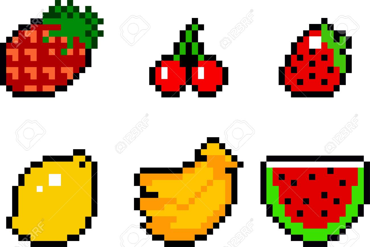 Set Of Food Icons In Pixel Art Style Fruits And Vegetables Royalty Free Cliparts Vectors And Stock Illustration Image 90344212