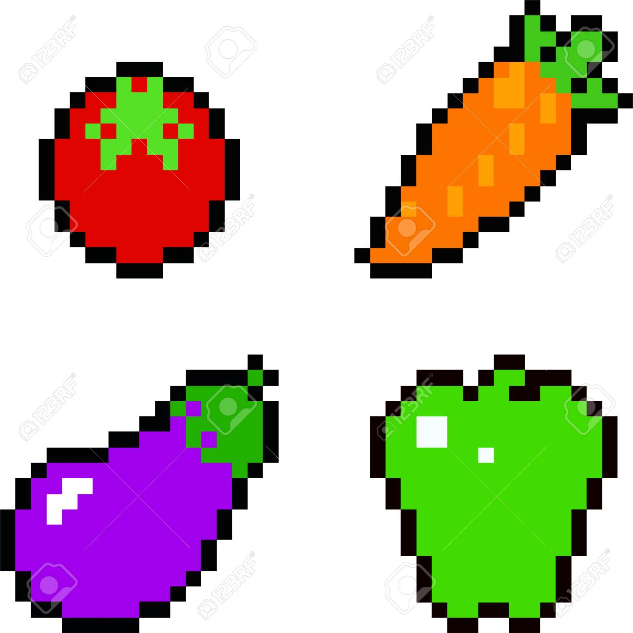 Set Of Food Icons In Pixel Art Style Fruits And Vegetables Royalty Free Cliparts Vectors And Stock Illustration Image 90344290