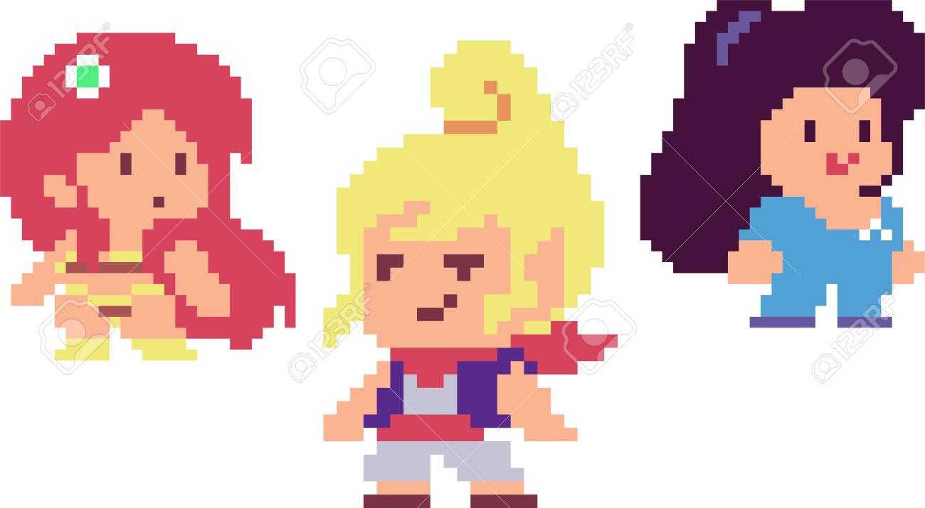 Ensemble De Filles De Jeu Dans Le Style Pixel Art Rétro 8 Bits Ou 16 Bits Pour Vos Jeux Rétro Design Dentreprise Clipart Vectoriel Détaillé Avec