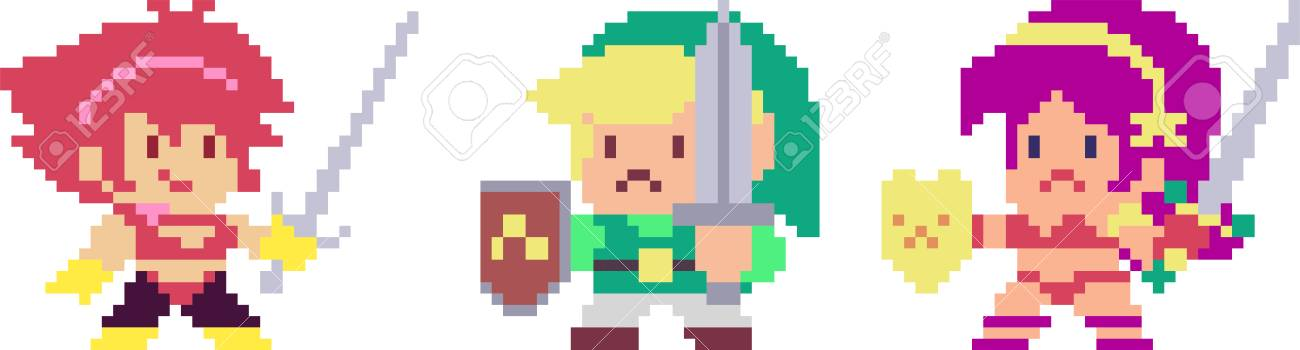 Set of game characters in pixel-art style  Warrior, priest, elf,