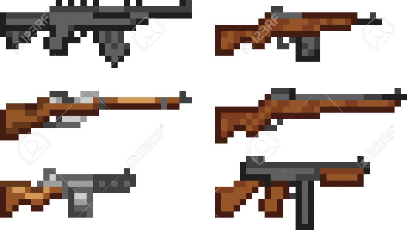 Ensemble D Icônes D Armes Dans Le Style De Pixel