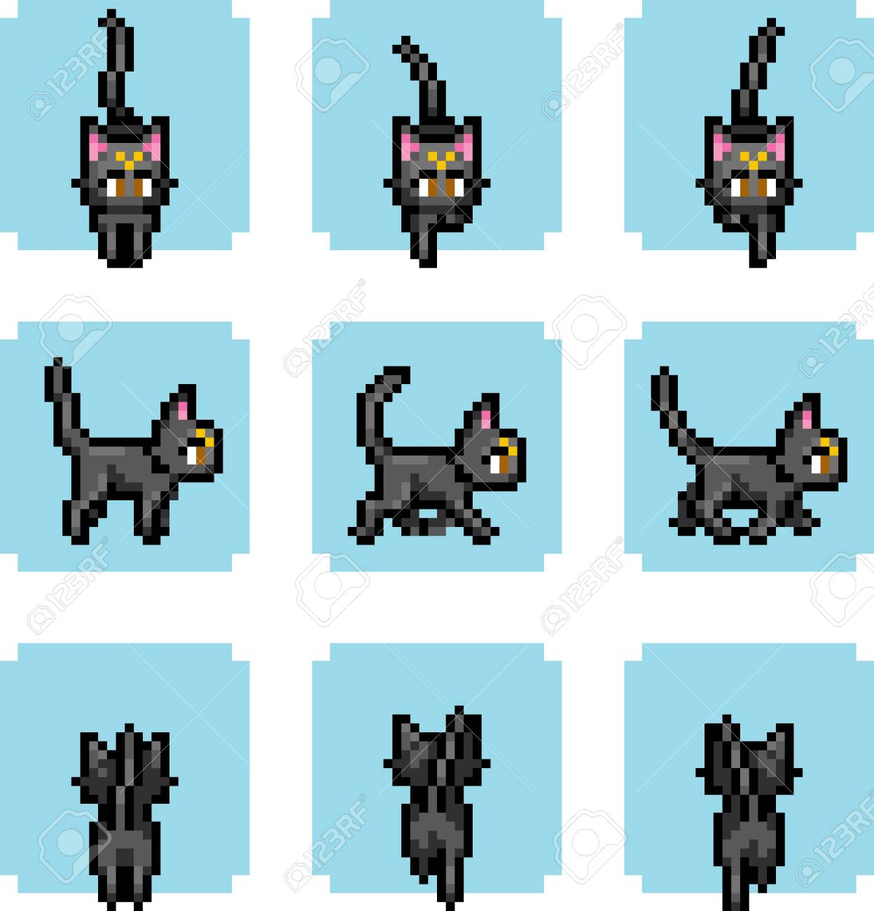 Set Of Game Animals In Perfect Pixel Art Style Cats And Funny
