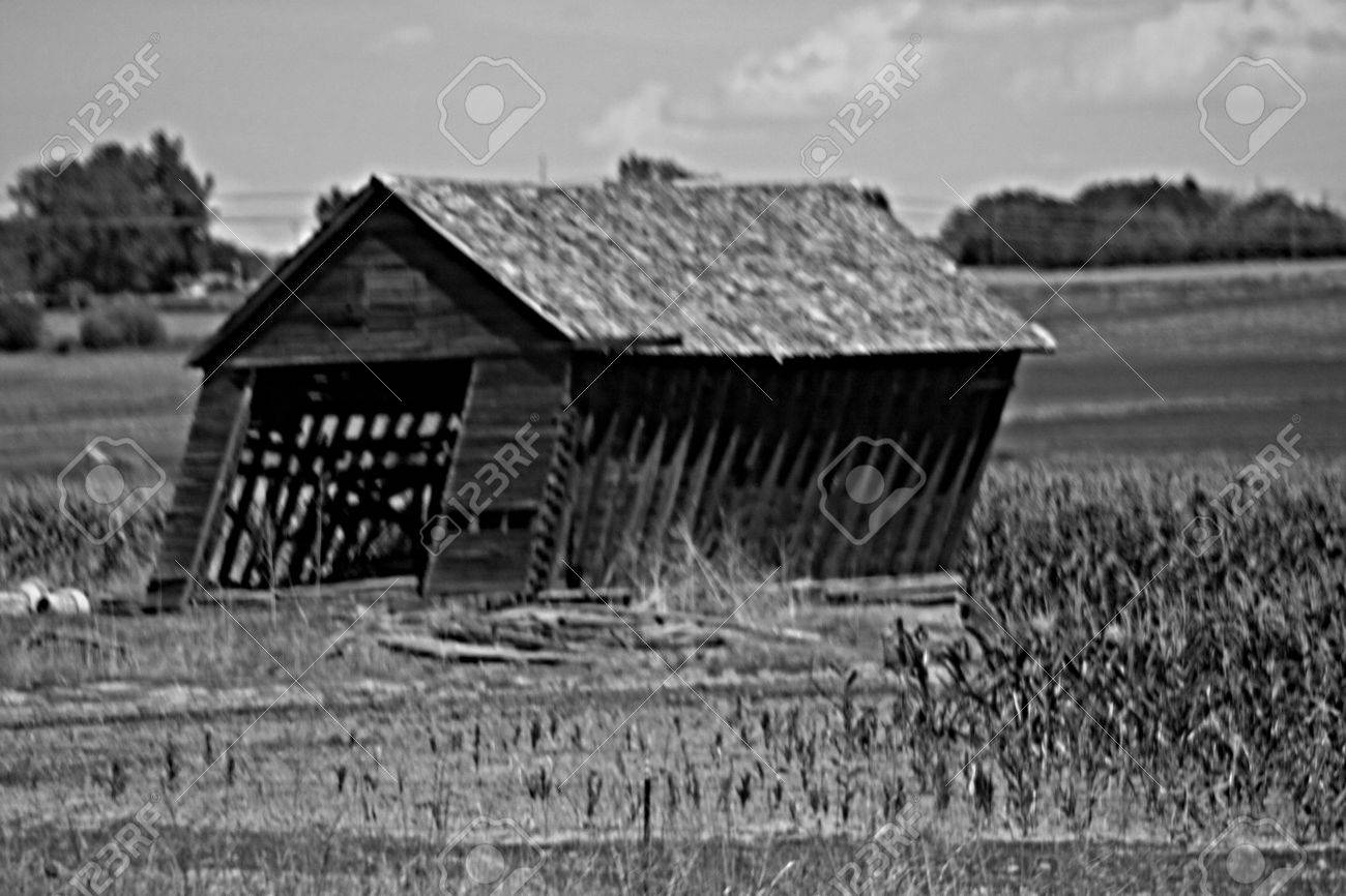 Black And White Old Barn Falling Down Stock Photo