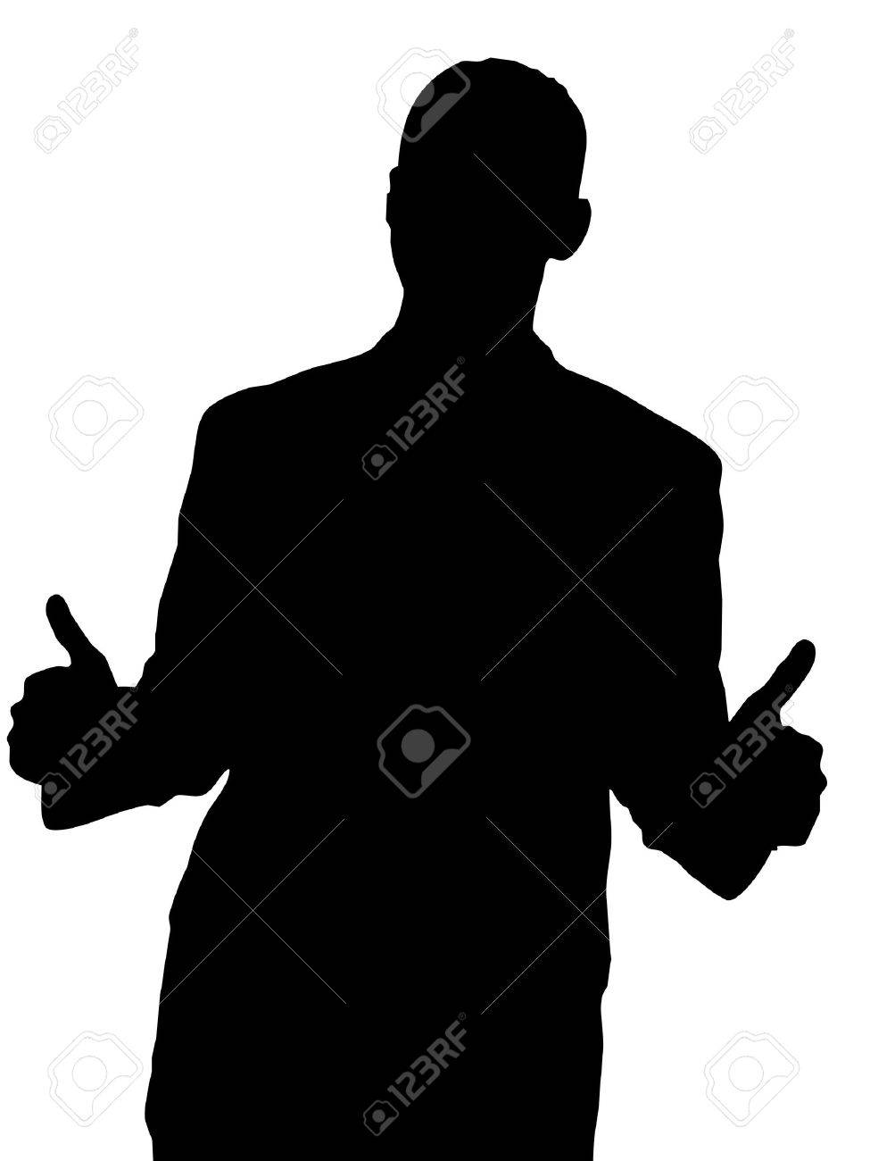 Male Silhouette with Two Thumbs Up isolated on a white background. Stock Photo - 5986775