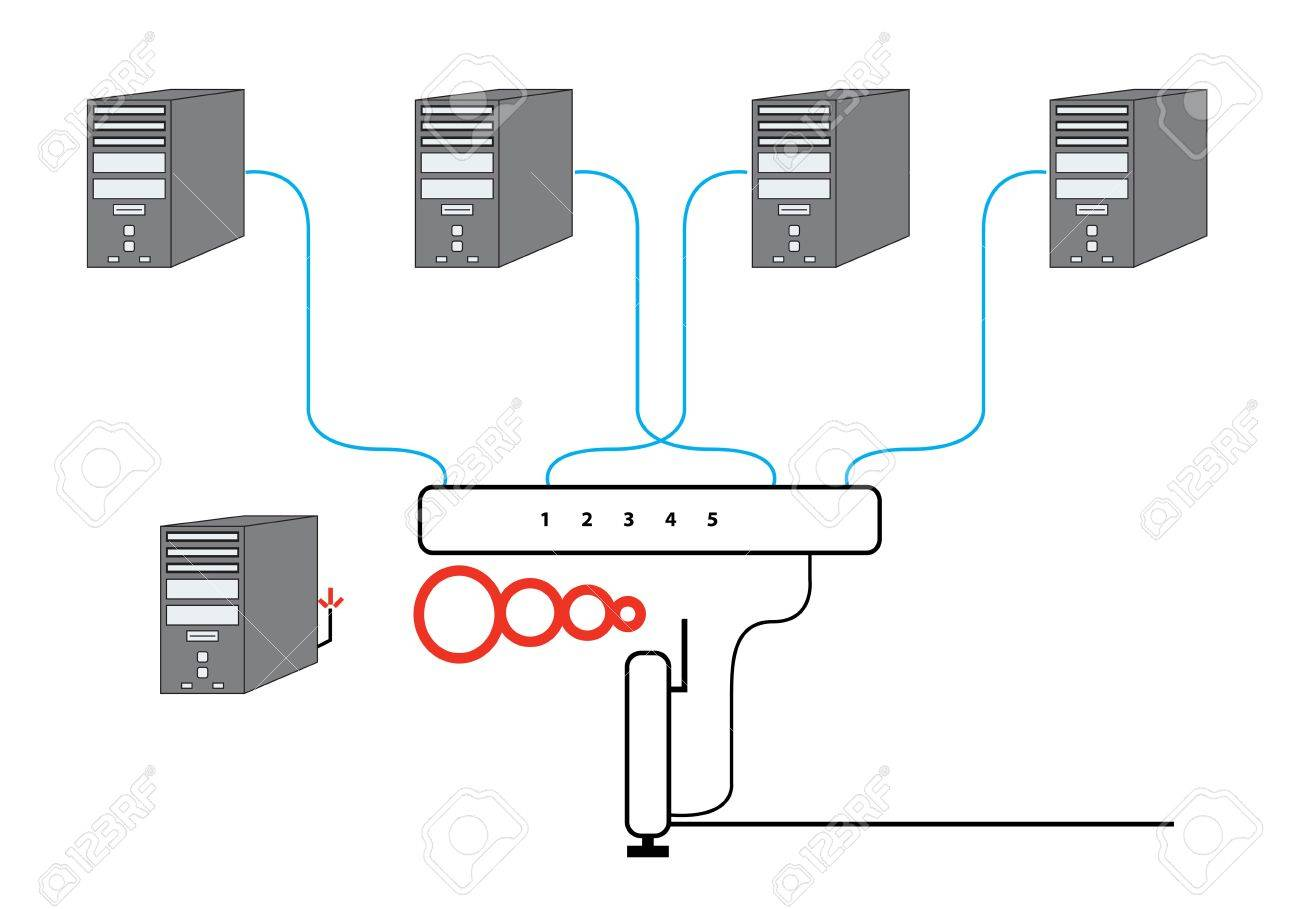 6217487 Computer Network Sectional Diagram with five PCs Switch and Wireless Cable Modem Router Setup Stock Photo modem router diagram modem to router to pc \u2022 wiring diagram router wiring diagram at n-0.co
