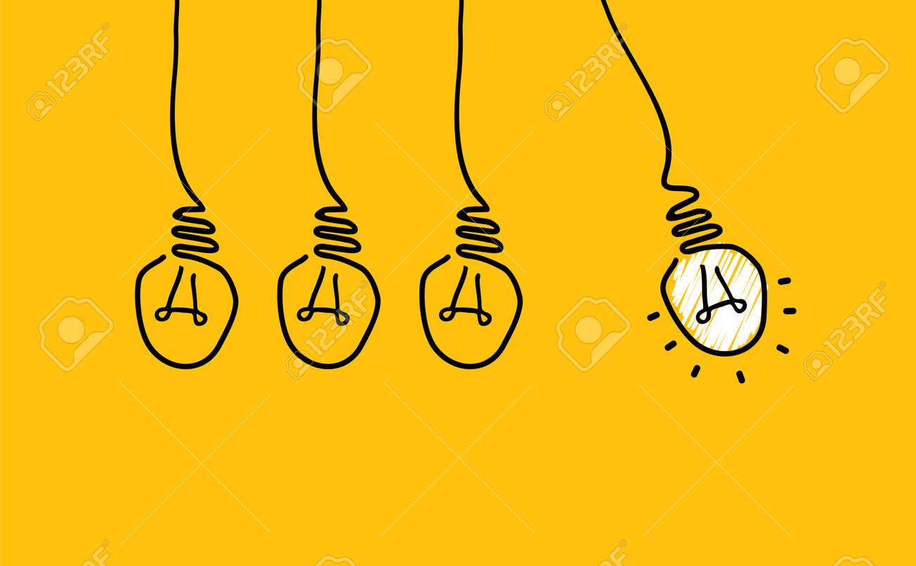 Comic brain electric lamp idea doodle. FAQ, business loading concept. Fun vector light bulb icon or sign ideas. Brilliant lightbulb education or invention icon banner - 154766306
