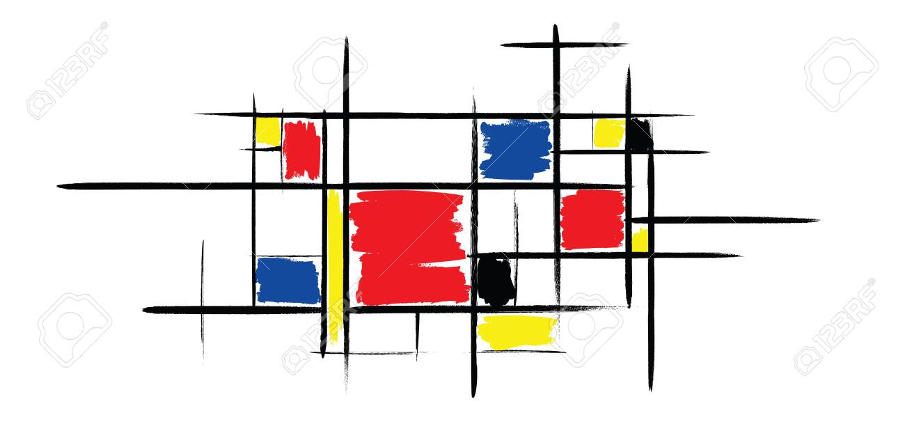 Checkered style emulation. The Netherlands art history and Holland painter. Dutch mosaic or checker line pattern. Retro pop art pattern - 156621162