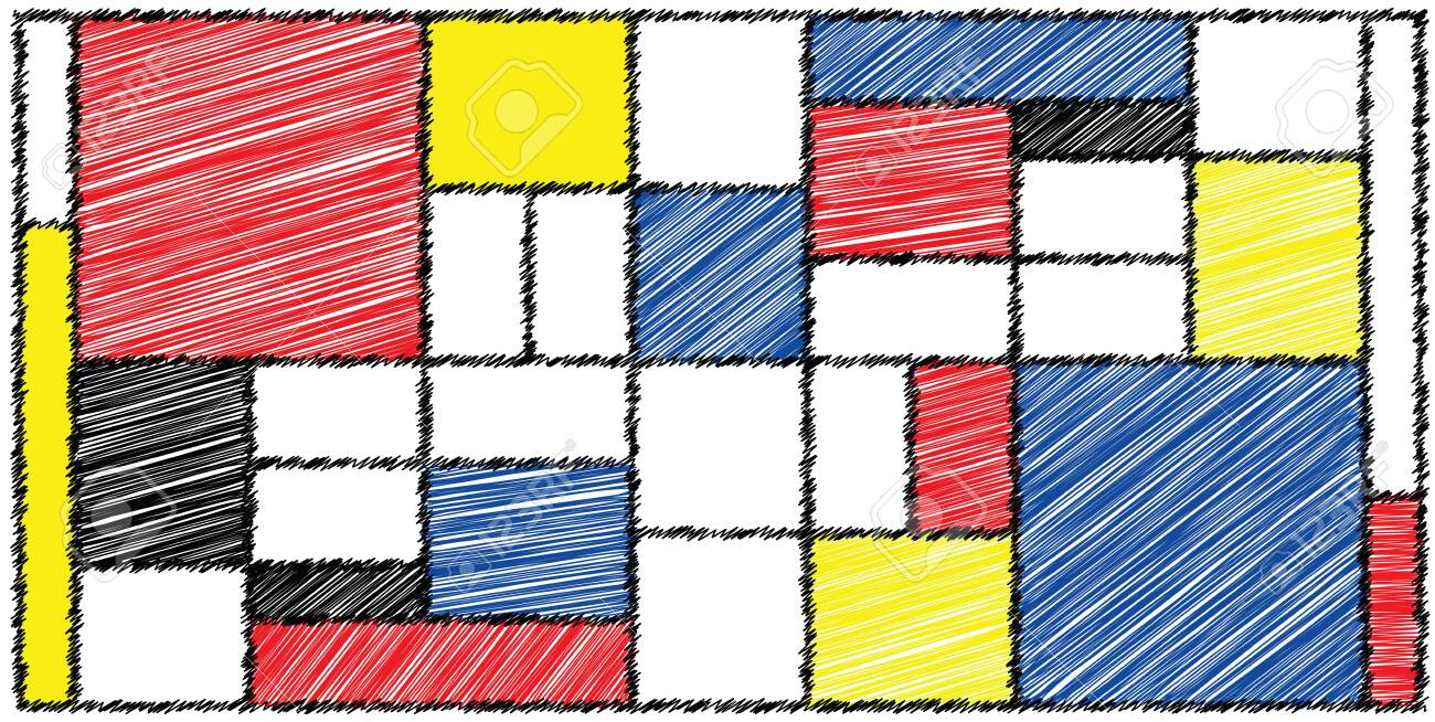 Checkered style emulation. The Netherlands art history and Holland painter. Dutch mosaic or checker line pattern. Retro pop art pattern - 156621187