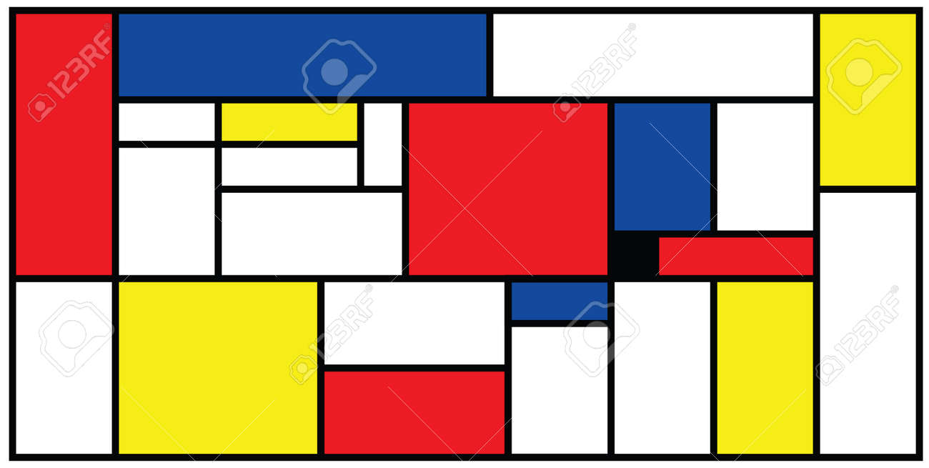 Checkered Piet Mondrian style emulation. The Netherlands art history and Holland painter. Dutch mosaic or checker line pattern banner or card. Geometric seamless elements Retro pop art pattern. - 154929942