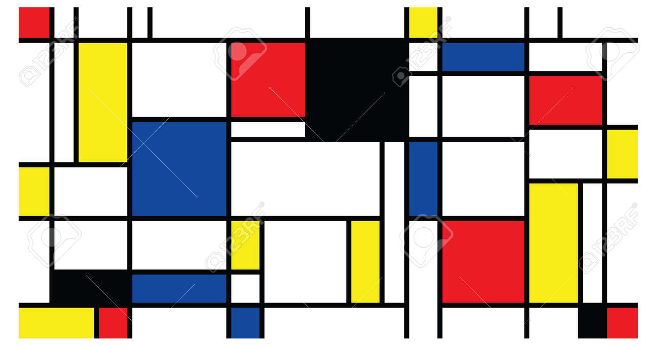 Checkered Piet Mondrian style emulation. The Netherlands art history and Holland painter. Dutch mosaic or checker line pattern banner or card. Geometric seamless elements Retro pop art pattern. - 154929944