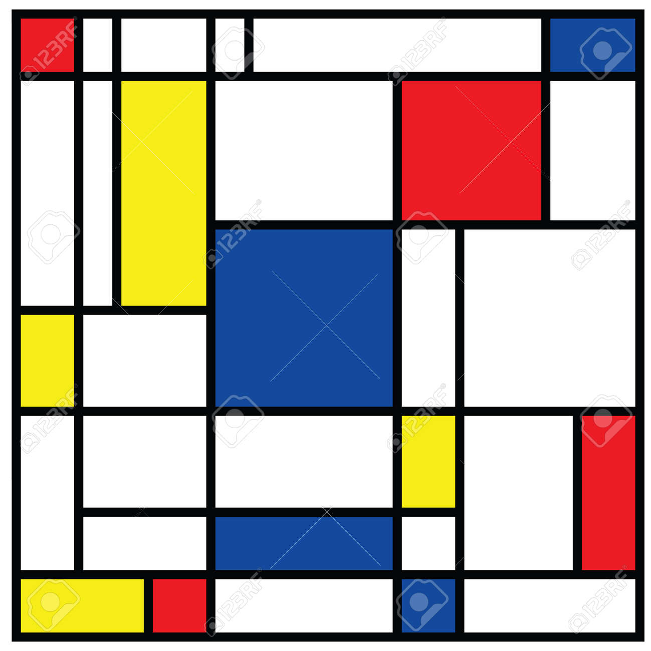 Checkered Piet Mondrian style emulation. The Netherlands art history and Holland painter. Dutch mosaic or checker line pattern banner or card. Geometric seamless elements Retro pop art pattern. - 154929946