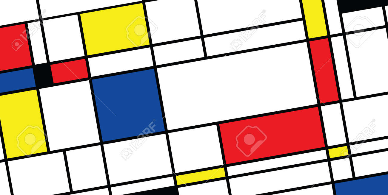 Checkered Piet Mondrian style emulation. The Netherlands art history and Holland painter. Dutch mosaic or checker line pattern banner or card. Geometric seamless elements Retro pop art pattern. - 154929951