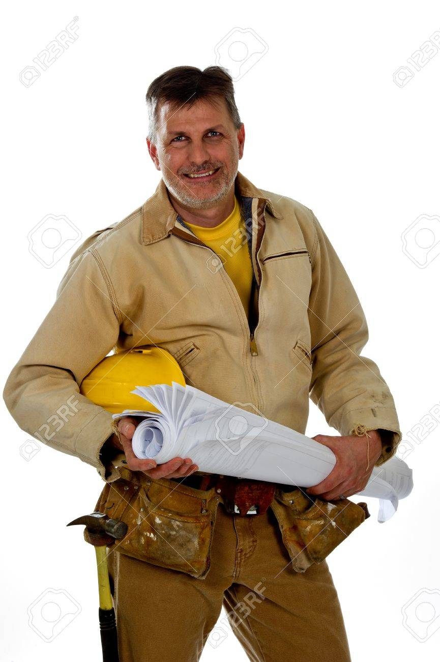 A professional male construction contractor worker wearing a