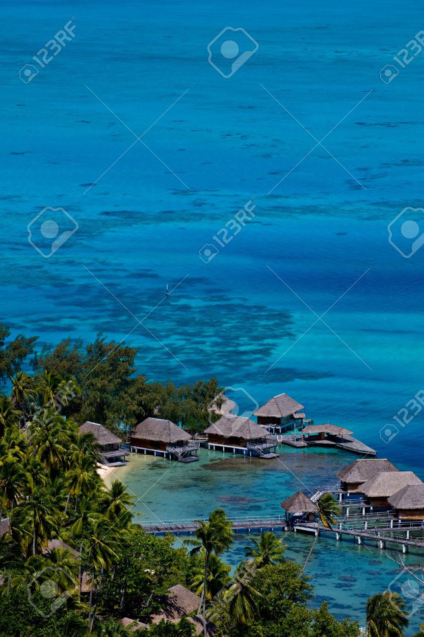View looking down over a beautiful turquoise lagoon of bungalows. Bora Bora Island, Tahiti, Society Islands, French Polynesia. Stock Photo - 11419267