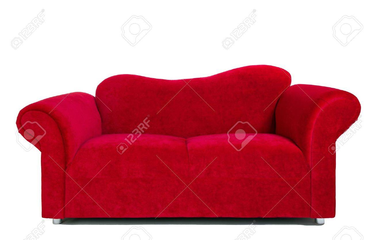 Contemporary red sofa isolated on white background, interior..
