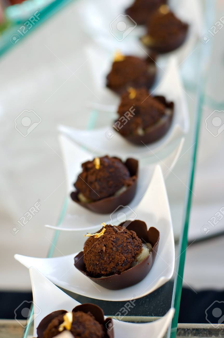 Beautiful Individual Servings Of Chocolate Truffles Served In