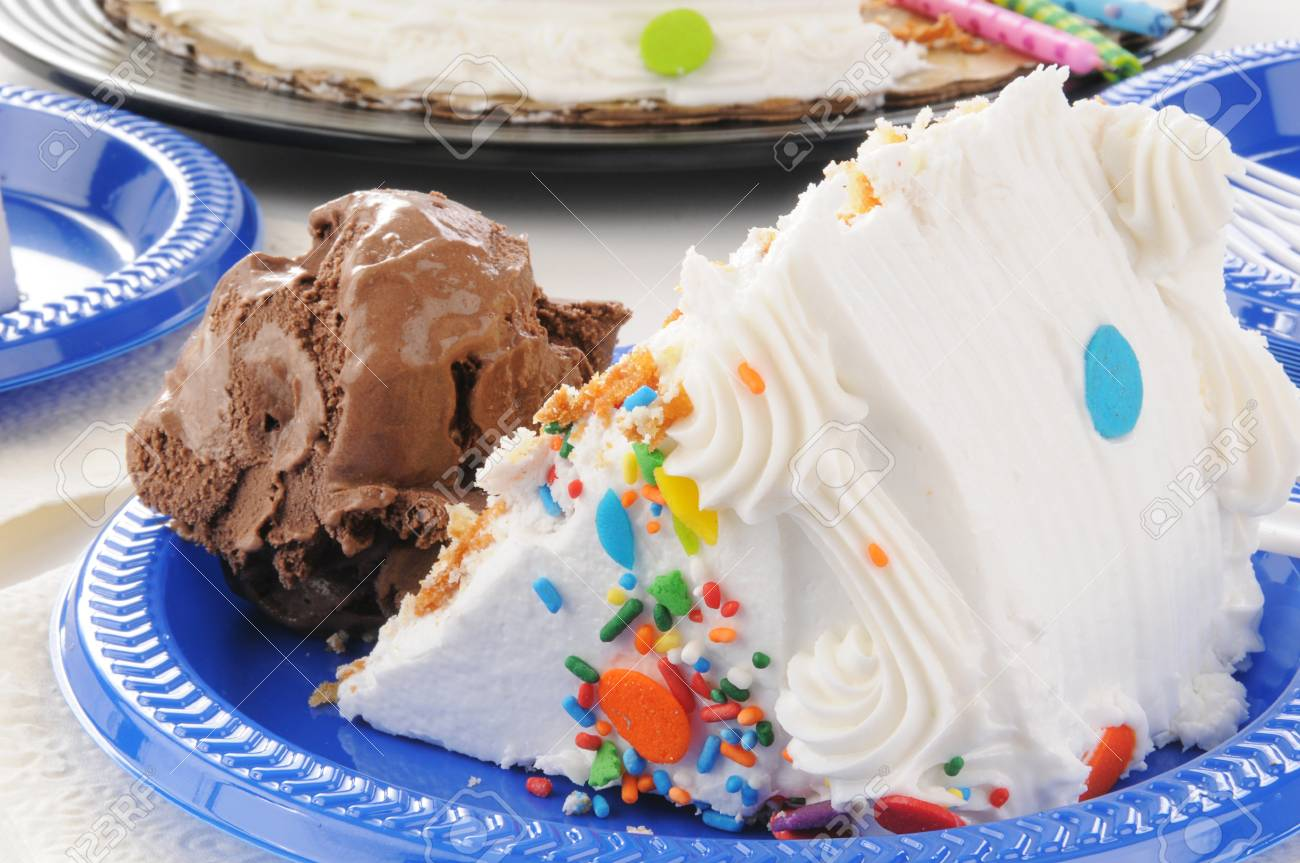 Superb Closeup Of A Slice Of Birthday Cake With Chocolate Ice Cream Stock Personalised Birthday Cards Veneteletsinfo