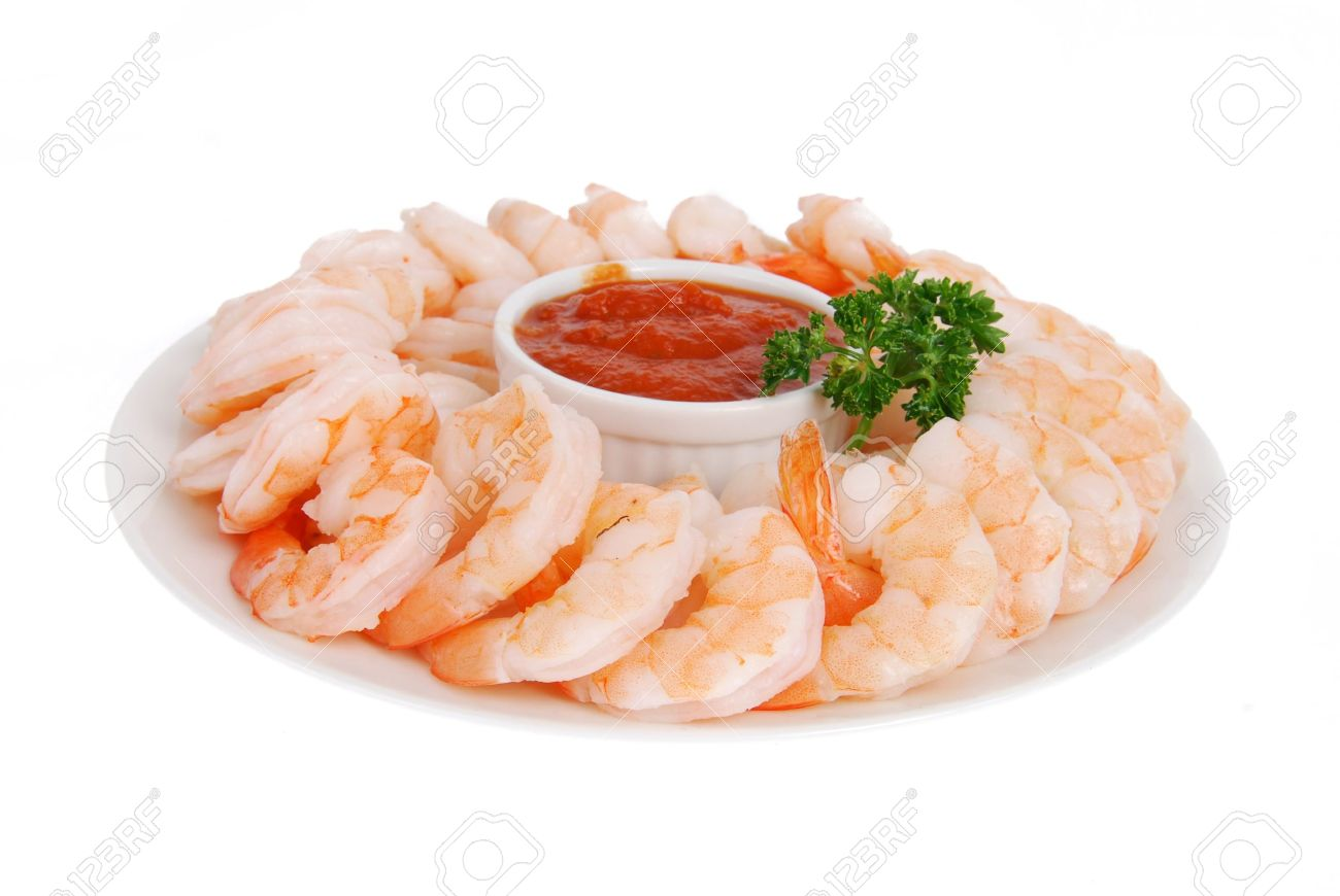 A Plate Of Shrimp Prawns With Cocktail Sauce On A Whte Background ...