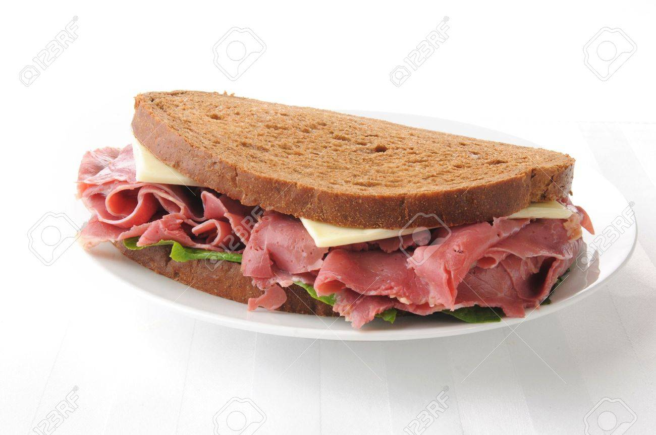 A Corned Beef And Swiss Cheese Sandwich On Rye Stock Photo 14631564