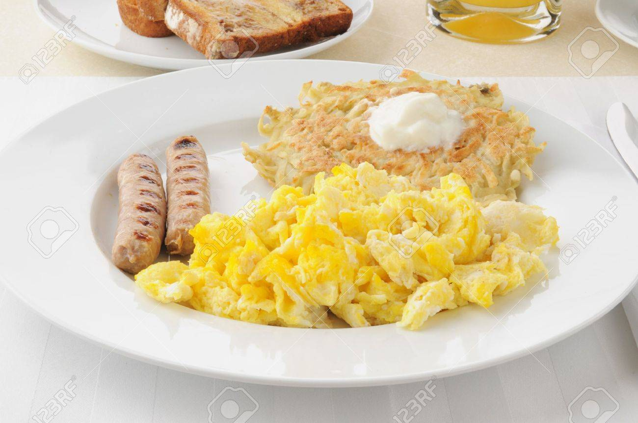 Breakfast Of Link Sausage, Scrambled Eggs And Potato Pancakes ...