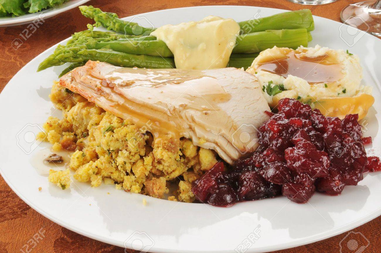Turkey and dressing with asparagus and cranberry sauce - 15301277