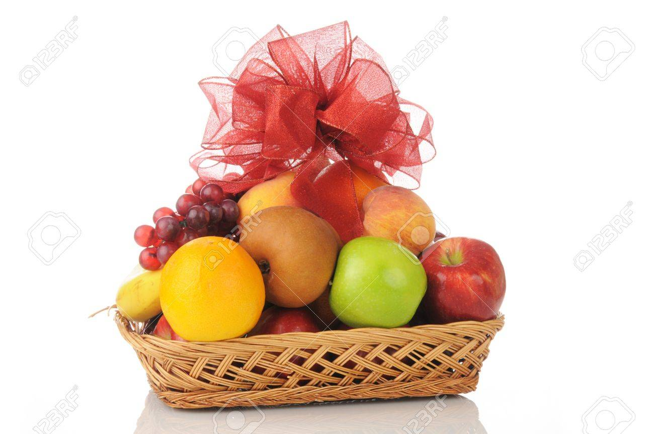A fruit gift basket with a bow on top - 15925590