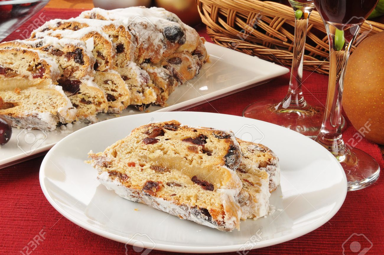 Sliced Stollen A Traditional German Fruit Cake And An American Christmas Favorite Stock Photo