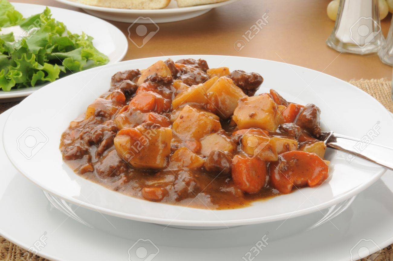 A bowl of hearty beef stew, closeup - 18209226