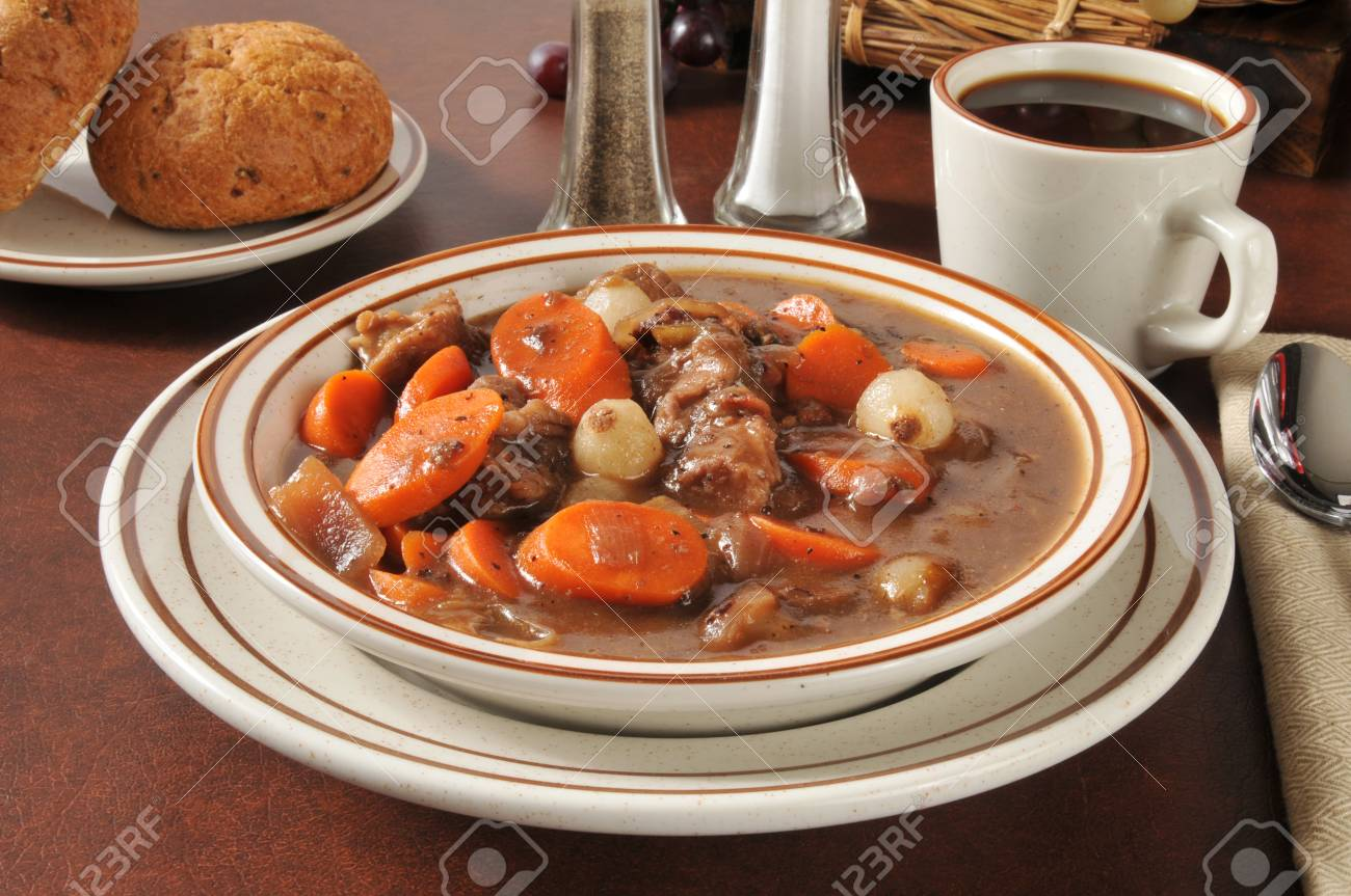 Beef Stew With Carrots Pearl Onions And Mushrooms In A Burgundy Stock Photo Picture And Royalty Free Image Image 21053129